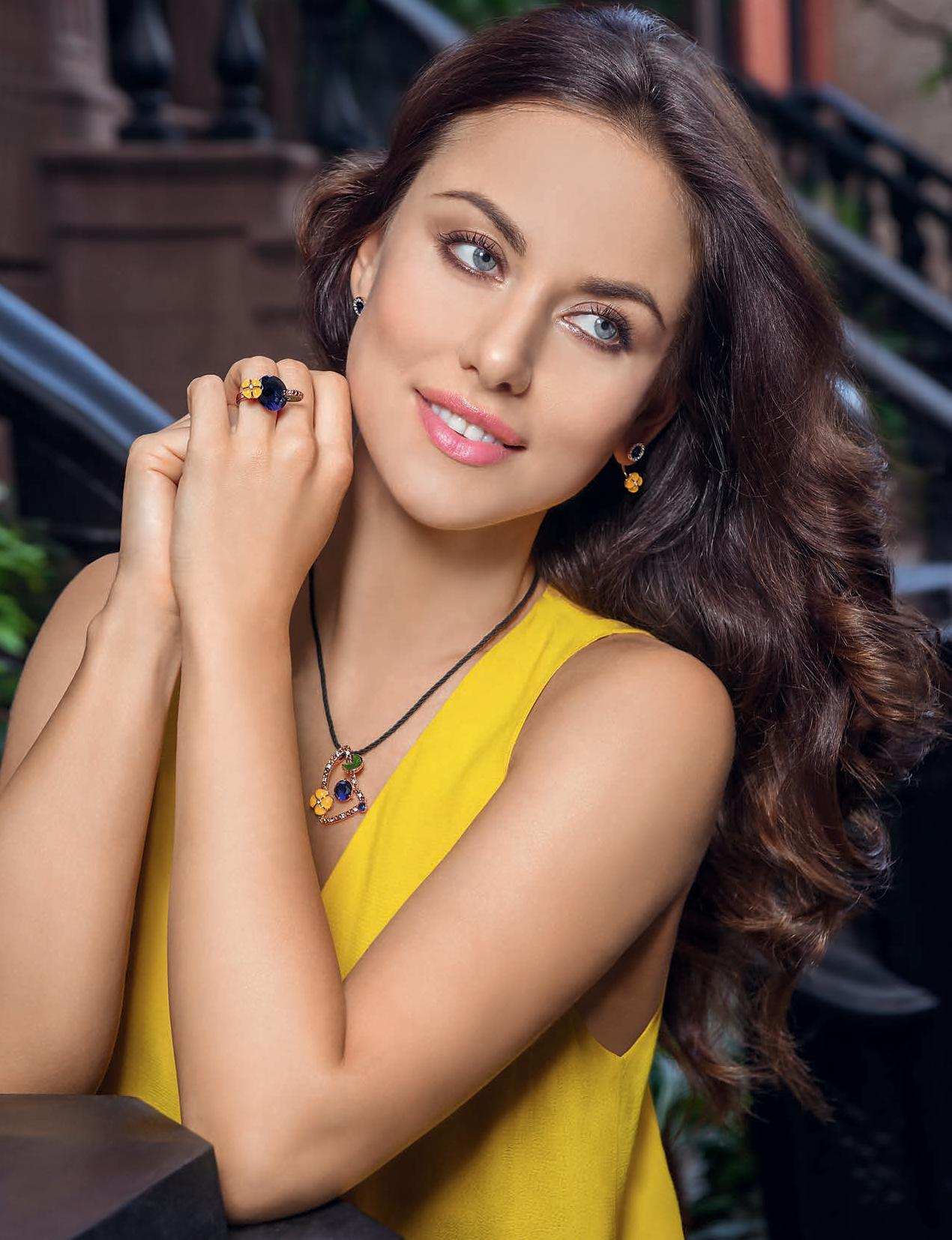 "Бижутерия Флоранж - Колье, серьги и кольцо ""Хай-лайн"""